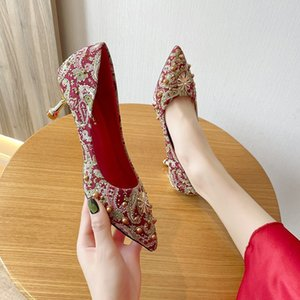 Wholesale red face shoes resale online - Shoes Wedding women s cloth face pointed high heels in spring red ceremonial bride Xiuhe metal stiletto