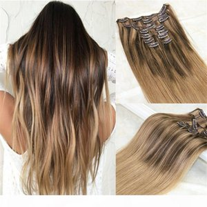 Wholesale mixed russian hair extension for sale - Group buy Balayage Clip in Hair Extensions Dark Brown mixed Honey Blonde and Color Golden Brown Ombre Brazilian Human Hair Extensions Clips