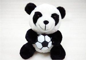 Wholesale animals zoos resale online - Football Panda Zoo Sitting Figures Toys Gifts Stuffed Animals Plush