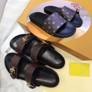 ingrosso tacco nero legato-2021 Donne da donna Donne Delle Donne Slifts Slipper Summer Sexy Sandali Sexy Mens Luxurys Designer Real Pelle Pelle Piattaforma Sandalo Flats Fashion Old Flower Shoes Shoes Spiaggia da donna PL01