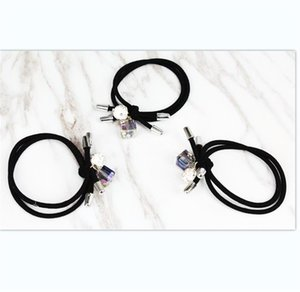 Wholesale hair elastic balls resale online - Double Line Hair Ring Block Women Rhinestone Crystal Rubber String Round Ball Black Elastic Band Hair Accessories Fashion ll L2