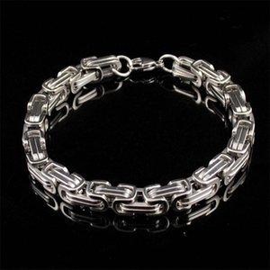 Wholesale byzantine stainless steel bracelet resale online - 8mm width high quality stainless steel men bracelet necklace set silver color byzantine box chain jewelry NB889 T2