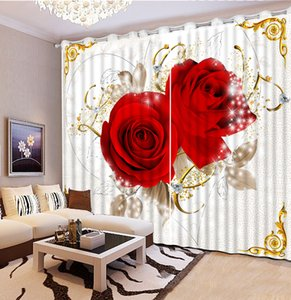 Wholesale curtain walling resale online - 3D Flowers Curtain Blackout For Living Room Bedroom Drapes Cortains Windows Wall Decor
