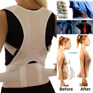 Wholesale back pain band resale online - Adjustable Magnetic Posture Back Support Corrector Belt Band Belt Brace Shoulder Lumbar Strap Pain Relief Posture Waist Trimmer Z2