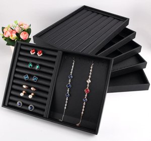 Wholesale bracelet display trays resale online - Latest Black PU Leather Jewellery Display Jewelry Holder Earring Box Ring Necklace Organizer Pendant Bracelet Watch Storage Tray Pouches Ba