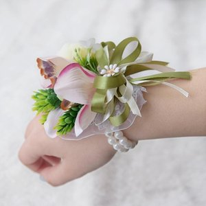 Wholesale artificial flower bracelets for sale - Group buy Artificial Rose Wrist Corsage Bracelet Silk Flower Bridesmaid Hand Flowers with Pearl Wedding Party Decoration C0209 OPHI