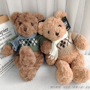Wholesale teddy bears resale online - Hug Baby Genuine Scarf Sweater Teddy Bear Plush Doll Lovers Gifts