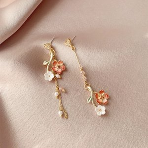 Wholesale cherry blossom earrings for sale - Group buy Sansheng Sanshi Shili peach blossom Earrings S925 silver needle asymmetric tassel antique girl heart Cherry Blossom Earrings