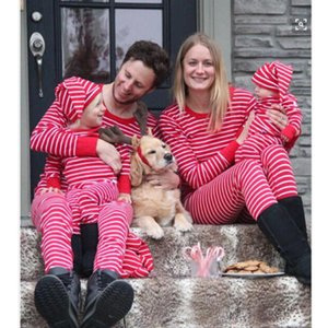 Wholesale women christmas outfits for sale - Group buy Christmas Outfits Family Matching Pajamas Set Women Baby Kids Sleepwear Nightwear Dad Mom Kid Clothes Red Stripe Women s Tracksuits