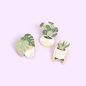 planta de monstera al por mayor-Me encanta Planta Enamel Pins Custom Sansevieria Monstera Broches Bolsa Ropa Pin Pin Potted Plant Bege Jewelry Regalo para amigos Q2