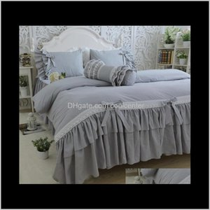 Wholesale cotton lace bedspreads for sale - Group buy Sets Supplies Textiles Home Garden Drop Delivery Korean Cotton Twill Bedding Large Lotus Leaf Gray Bedspread Embroidered Lace Set Bowk