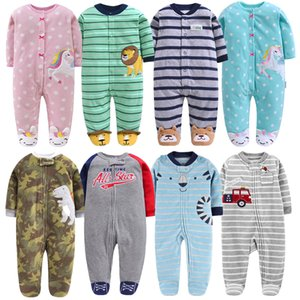 Wholesale newborn footed pajamas for sale - Group buy Newborn Baby Boy Autumn winter Fleece Climbing Clothes M Kids Footed Pajamas Long Sleeved Infant Girls Cartoon Clothing