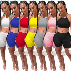 Women 2 Two Piece Pants Set Shorts Outfits Designer Summer Tracksuits Solid Color Bandage Clothing slim sexy Suspenders Tops Suits