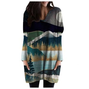 Wholesale landscapes autumn paintings for sale - Group buy Dresses Autumn and Winter Landscape Painting Long Sleeve Printed