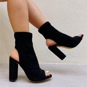 Wholesale black ankle peep toe booties for sale - Group buy Boots Spring Black Women Ankle Sexy Peep Toe Chunky Heels Party Shoes Casual Roma Gladiator Ladies Sandals Booties Pumps