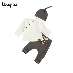 Wholesale retro baby clothes resale online - 0 Months Baby Clothing Suit Retro Slant Buttons Long Sleeve Tops Laceup Pants Hat Toddler Boy Girl Clothes Sets