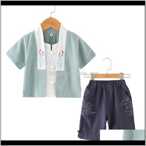 Wholesale retro baby clothes resale online - Sets Baby Clothing Baby Maternity Summer Boys T Shirt Shorts Girls Chinese Style Print Tops Children Clothes Set Retro Tang Suit For T