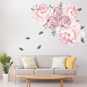 Wholesale wall stickers flowers for sale - Group buy Sweet Pink Peony Flowers Wall Stickers for Kids Room Living Room Bedroom Furniture Sticker Home Decoration Wall Decal Home Decor
