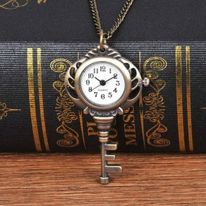 Wholesale unique pocket watches for sale - Group buy Trendy Unique Bronze New Key Quartz Pocket Watch Exquisite Key New Buckle Pocket Watch