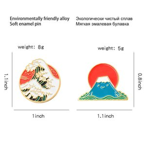 Wholesale japan brooch for sale - Group buy Mountain Round Wave Enamel Brooch Snow Cartoon Cute Mount Fuji Japan Sunrise Pin Badge Clothes Bag Accessories