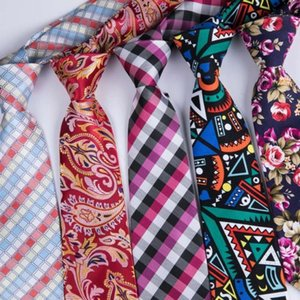 Wholesale famous ties resale online - Famous DiBanGu Brand Red Floral Plaid Mens Ties Wedding Mens Silk Printed Neckties cm Ties For Men Tie Gravata New Cravate1