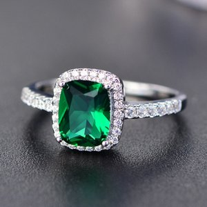 Wholesale emerald engagement rings for sale - Group buy Big Promotion ct Real Silver Ring SWA Element Diamond Emerald Gemstone Rings For Women Wedding Engagement Jewelry New Q2