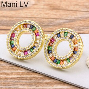 Wholesale good earring design for sale - Group buy Original Design Copper Zircon Luxury Colorful Rainbow Huggie Earrings Woman Girls Good Price Stud Jewelry Gift