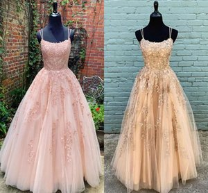 Wholesale blush maternity bridesmaid dresses resale online - Elegant Blush Champagne Lace Prom Bridesmaid Dresses with Spaghetti Straps Criss crossing A line Evening Pageant Formal Cocktail dress Gowns