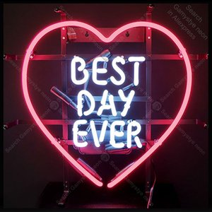Wholesale best neon signs resale online - Neon Signs for Best Day Ever Bulb sign LOVE Restaurant Beer Bedroom Neon Lamp store display custom Letrero enseigne Handcraf