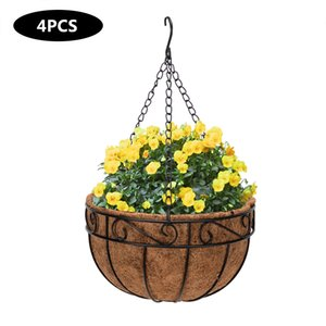 Wholesale paint basket for sale - Group buy Planters Pots Artisasset quot Black Painted Round Wrought Iron Coconut Palm Hanging Basket