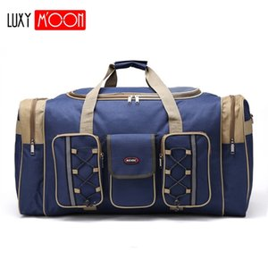 Wholesale mens travel bags resale online - Thick Canvas Casual Duffle Bag Waterproof Mens Travel Bags Long Strap Anti scratch Multi pocket Large Capacity Handbags L468