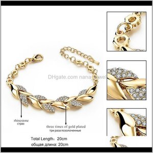 Wholesale wedding bracelets resale online - Jewelry18K Gold Braided Leaf Bracelets Women Luxury Crystal Hand Chain For Bridal Wedding Jewelry Drop Delivery Fi3Ud