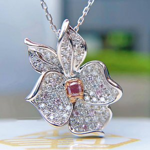 Wholesale small stone pendant necklace resale online - Small Square Pink Crystal Necklace White Zircon Full Stone Flower Necklaces For Women Bridal Jewelry Silver Color Chain Pendant