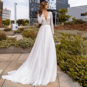 Wholesale summer bohemian boho wedding gown resale online - Lace Boho White Wedding Dress V Neck Long Sleeve Summer Bohemian Bride Dresses Flowy Chiffon Beach Bridal Gown Modern Garden robes de mariage