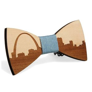 Wholesale famous ties resale online - Famous American City Pattern Handmade Bamboo Wooden Bow Ties Adjustable Men Boys Wedding Party Necktie Bowknot Suit Accessory Neck
