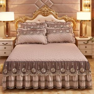 Wholesale cotton lace bedspreads for sale - Group buy European Luxury Bedspreads And Pillowcase Thick Cotton Bed Skirt With Lace Edge Twin Queen King Size Bedding Set Non slip Sets