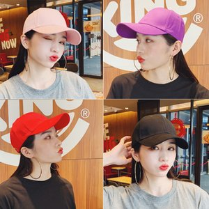 Wholesale yellow womens hats for sale - Group buy Fashionable Peaked Cap Korean Mens Summer Sun Hat Black Ins Fashion Brand Womens Solid Color Light Board Baseball Cap No