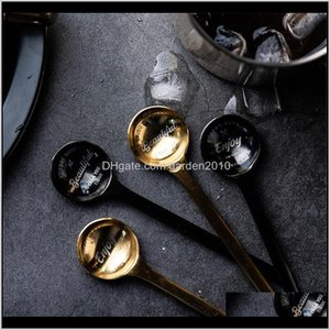 Wholesale gold fruit resale online - Luxury Stainless Steel Spoons Coffee Ice Fruit Dessert Spoon Rose Gold Black Teaspoons Tableware Home Decoration Pc Pr7A S9Np