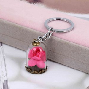 Wholesale beauty beast rose glass resale online - Key ring Glass cover Dry Flower Nelace long lovers chain rose beauty and beast colors