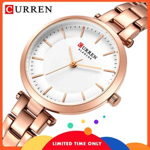 Wholesale gold curren resale online - FREE Curren brand minimalist luxury quartz female pink watches gold casual watch bracelet thin for ladies wristwatch with steel