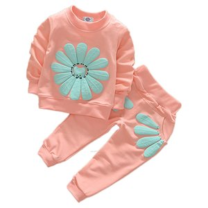 Wholesale childrens clothing for sale - Group buy Newborn Baby Girls Clothes Set Flower Long Sleeve Tops Pants Outfits Kids Clothing Childrens Suits Z2