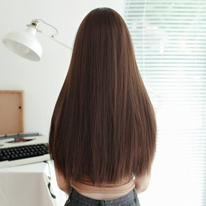 Wholesale korean bangs for sale - Group buy Korean Style Internet Celebrity Wig Womens Long Hair Full Top Straight Hair Middle Points without Bangs Invisible Realistic Synthetic Wigs W
