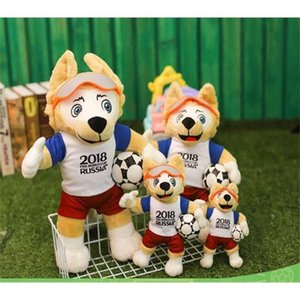 Wholesale soccer dolls resale online - Russian Mascot doll Plush Coyote Zabikaka Doll Soccer Souvenir Gift Toy