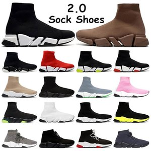 2.0 Mens classic Sock shoes platform triple black white Beige Red Clearsole Yellow Fluo bule Flat womens fashion outdoors 36-45