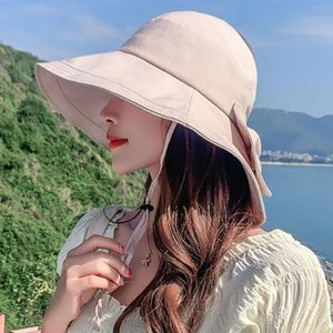 Wholesale top hat shop resale online - Summer Women Empty Top Bow Sunhat Anti UV Outdoor Shopping Beach Bucket Hat Wide Brim Cover Face Caps Hats