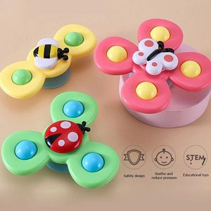 ventosa de juguete al por mayor-Hottest Suction Cup Spinning Top Toy Baby Bath Toys Sucker Turn to goy Children s Baths Spinnings Tops OWB6486
