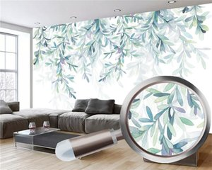 3d Mural Wallpaper small fresh hand painted watercolor green leaves Nordic minimalist Living Room Bedroom Kitchen Home Decor Wallpapers
