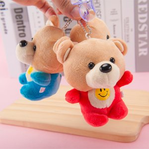 Wholesale smiley face plush toy resale online - Smiley Face Bear Plush Toy Pendant Doll Key Ring Small Activity Gift Practical