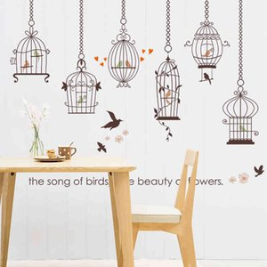 Wholesale shopping for home decor for sale - Group buy Bird Cage flower cartoon Wall Sticker for Living room Bedroom Kids Room kindergarten window shop Home Decor Wall Decal