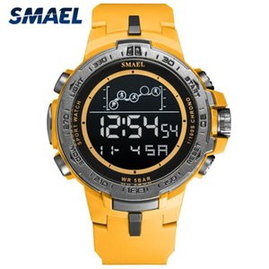 Wholesale digital watch stopwatch resale online - Waterproof Digital Watches SMAEL Watch Men Big Dial Led Luminous Clock Stopwatch Military Sport Montre Homme Wristwatches